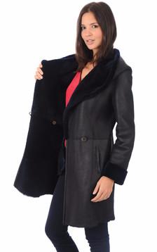 Manteau en mérinos bleu marine