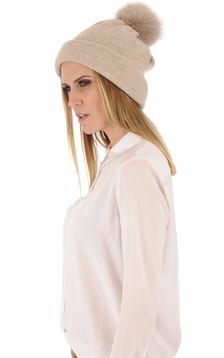 Bonnet en laine merinos beige