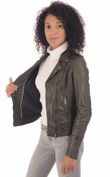 Blouson en cuir vert foncé femme