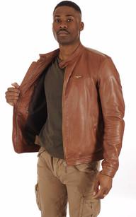 Blouson Cuir Cognac Homme