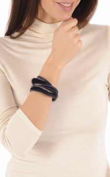 Bracelet Fourrure Vison Bleu1
