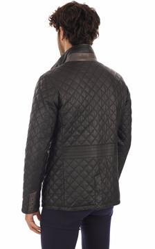 Veste Elégante Cuir Matelassé Noir