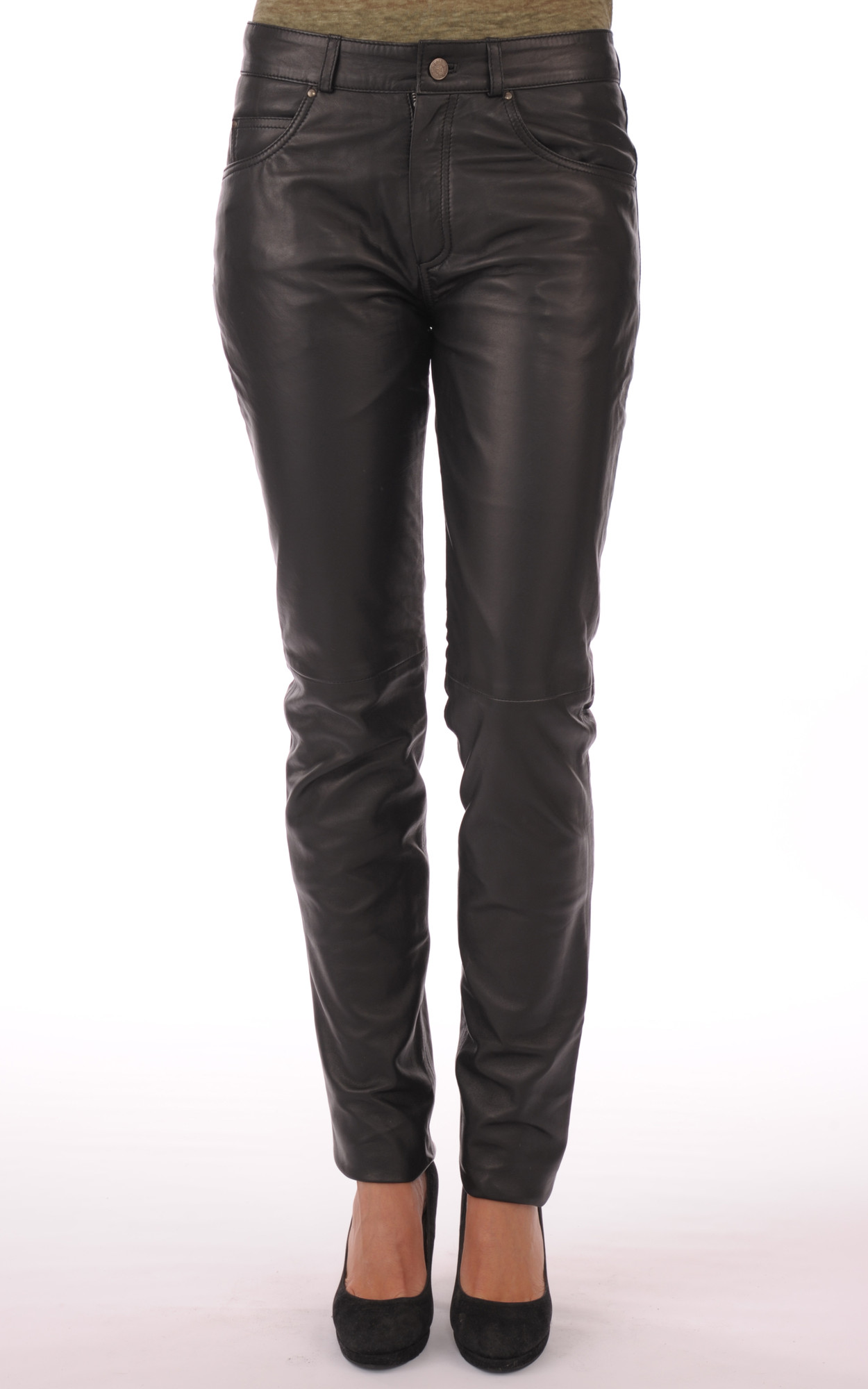 Pantalon En Cuir Noir Femme1