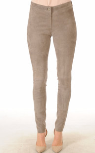 Pantalon Cuir Agneau Stretch Velours Gris1
