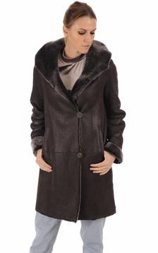 Veste peau lainée marron foncé1
