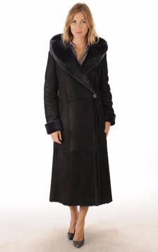 Manteau Peau Lainée Noir Bleuté1