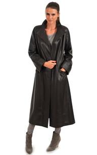 Manteau Cuir pour Femme Marron Foncé1
