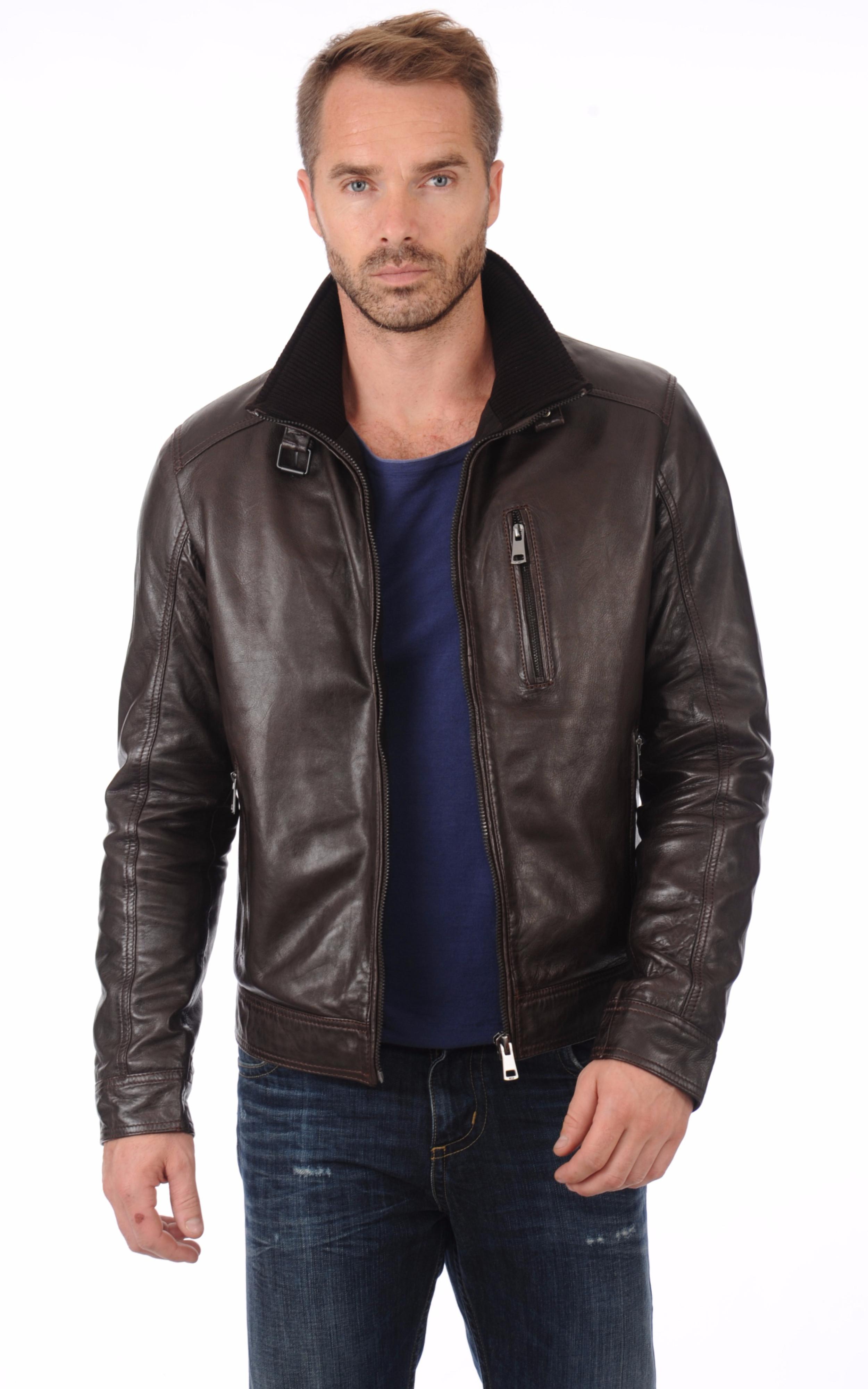 blouson cuir marron homme serge pariente la canadienne blouson cuir marron. Black Bedroom Furniture Sets. Home Design Ideas