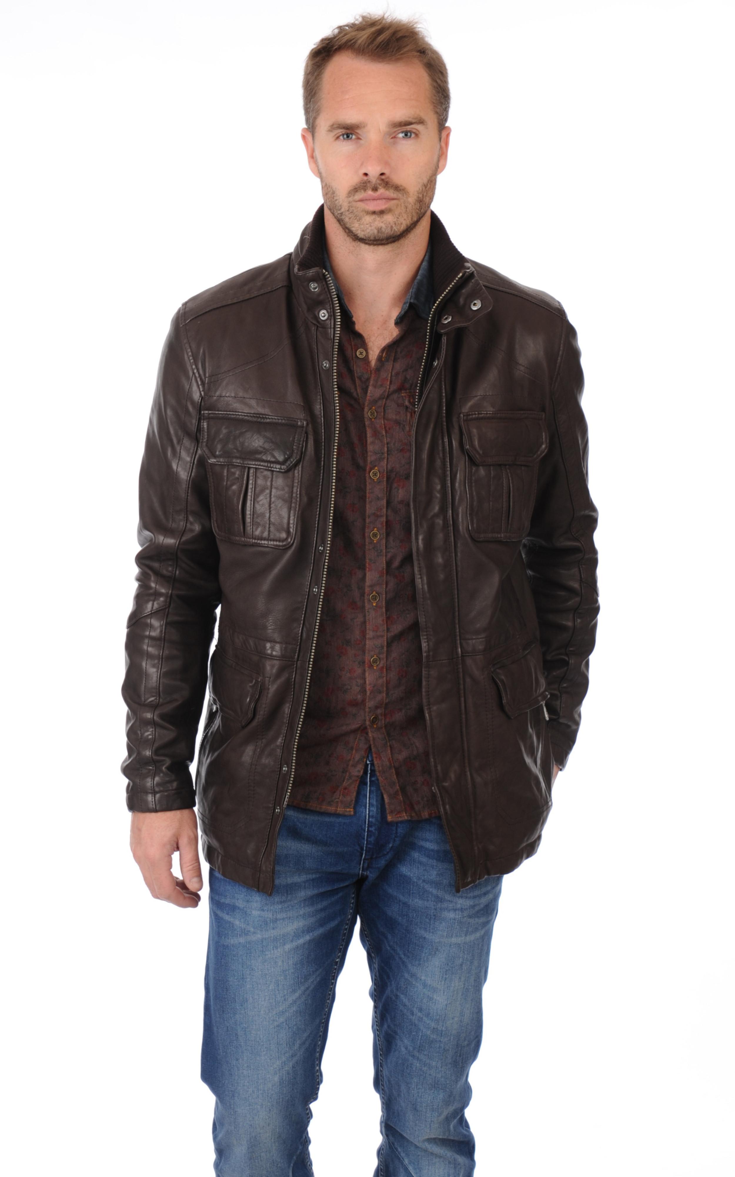 veste cuir marron ricardo daytona la canadienne veste 3 4 cuir marron. Black Bedroom Furniture Sets. Home Design Ideas