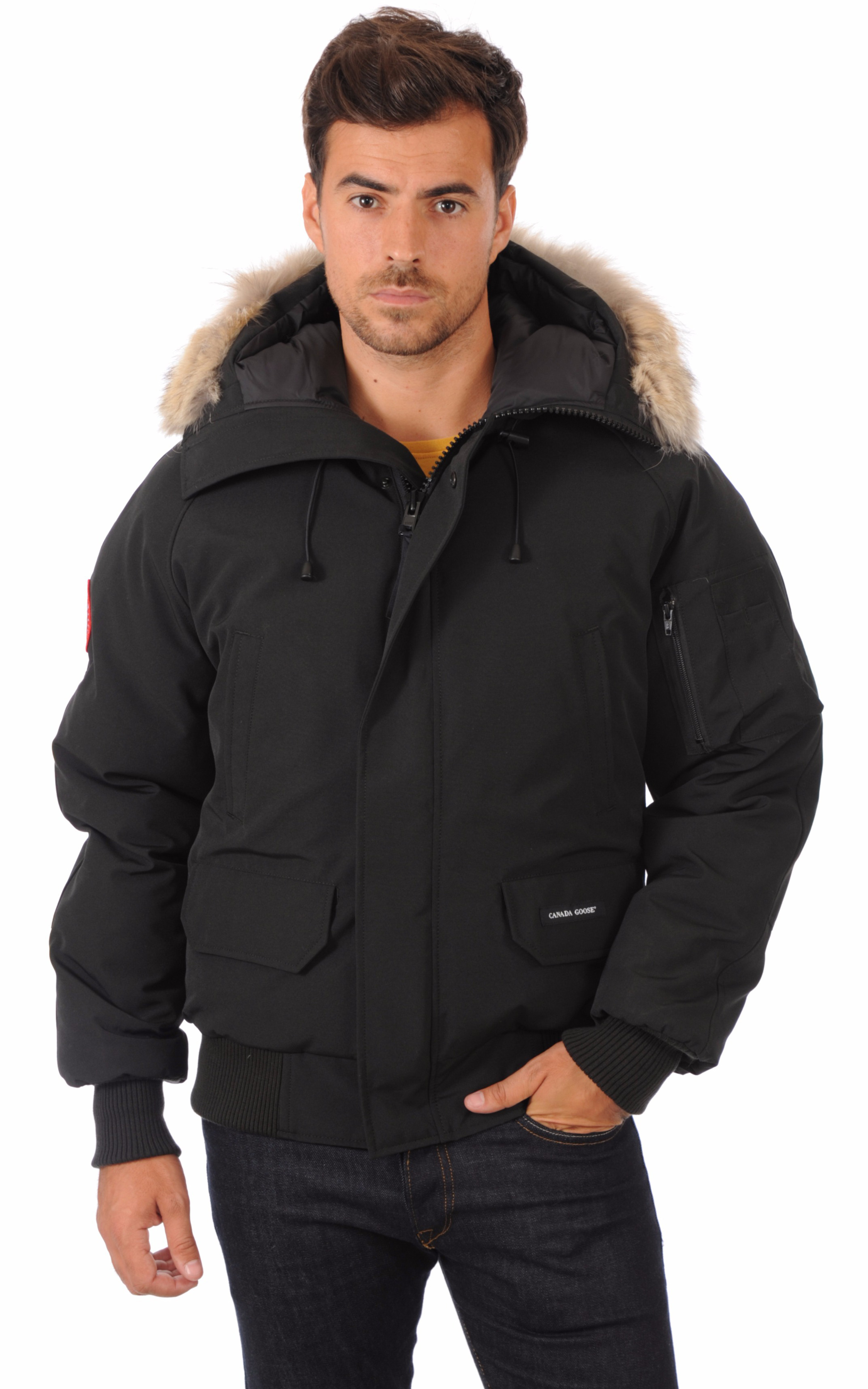 blouson chilliwack noir homme canada goose la canadienne doudoune parka textile noir. Black Bedroom Furniture Sets. Home Design Ideas