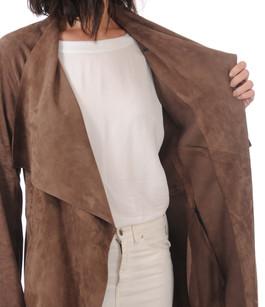 veste longue cuir velours femme la canadienne la canadienne veste 3 4 nubuck et daim taupe. Black Bedroom Furniture Sets. Home Design Ideas