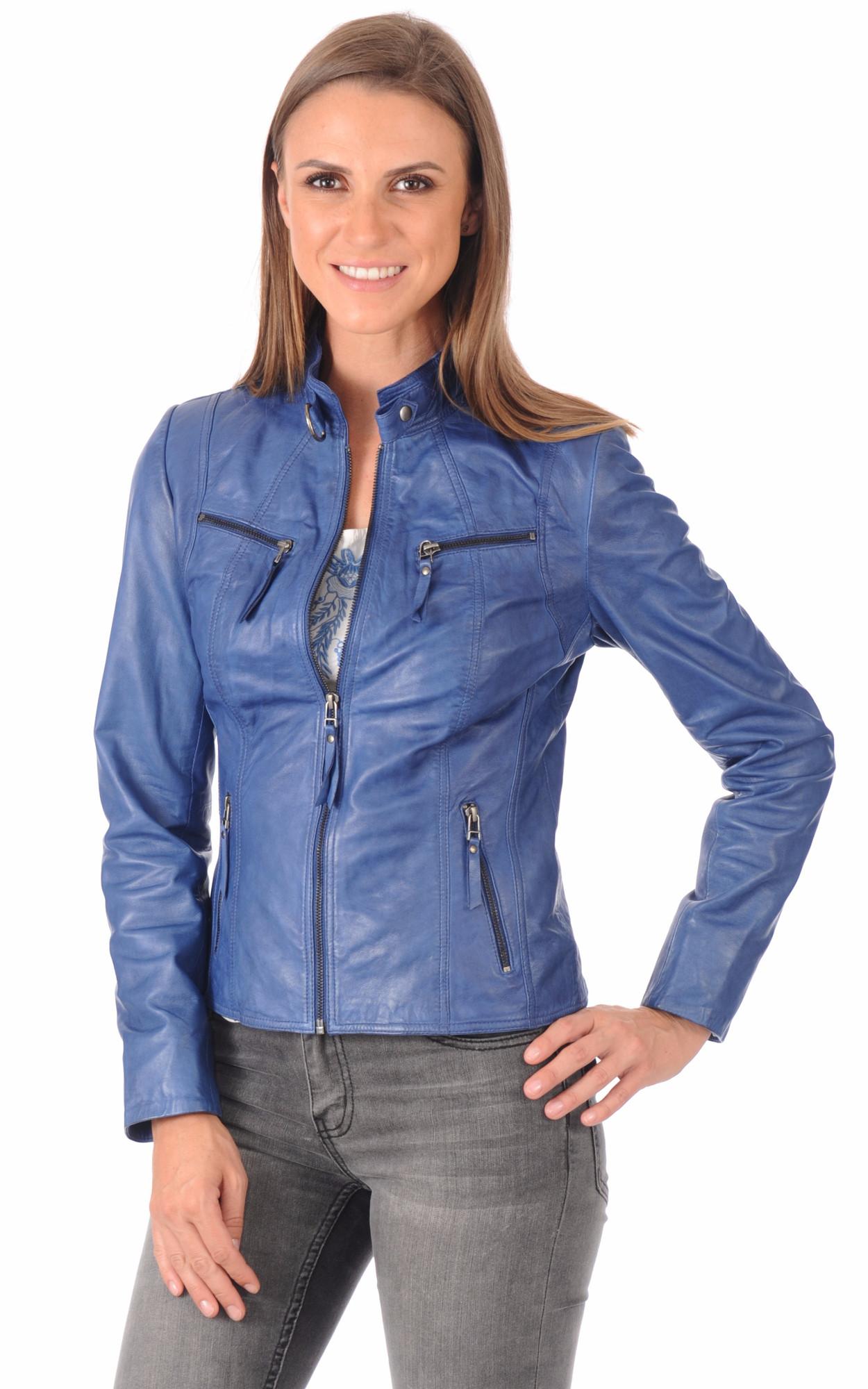Blouson Cuir Femme Bleu1