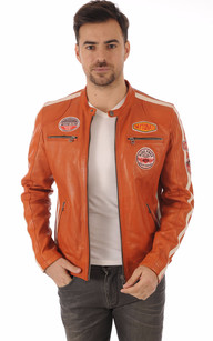 Blouson Cuir Orange Style Motard1