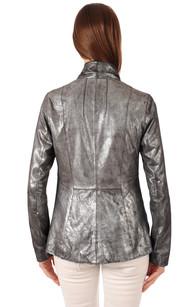 Veste Cuir Velours Métallisée Silver