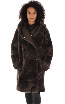 Manteau peau lainée marron foncé1