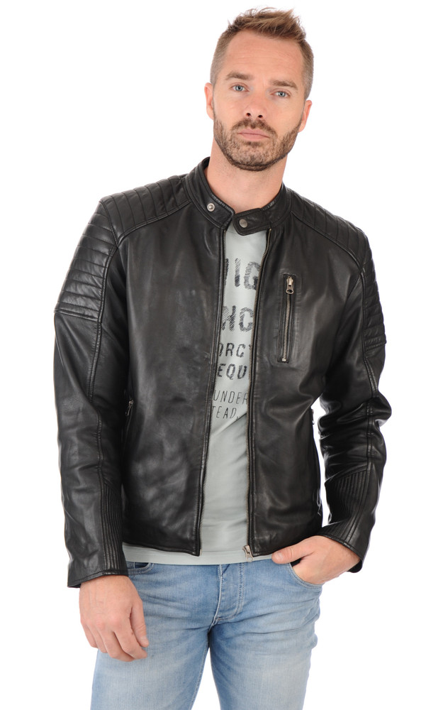 blouson motard cuir homme giorgio la canadienne blouson cuir noir. Black Bedroom Furniture Sets. Home Design Ideas