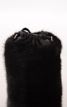 Pochon Cuir et Fourrure de Vison Noir