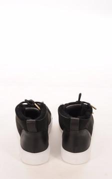 Baskets Cuir Velours Noir Femme