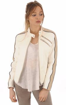 Blouson Motard Femme Cuir blanc