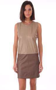 Robe Cuir Taupe Bicolore1