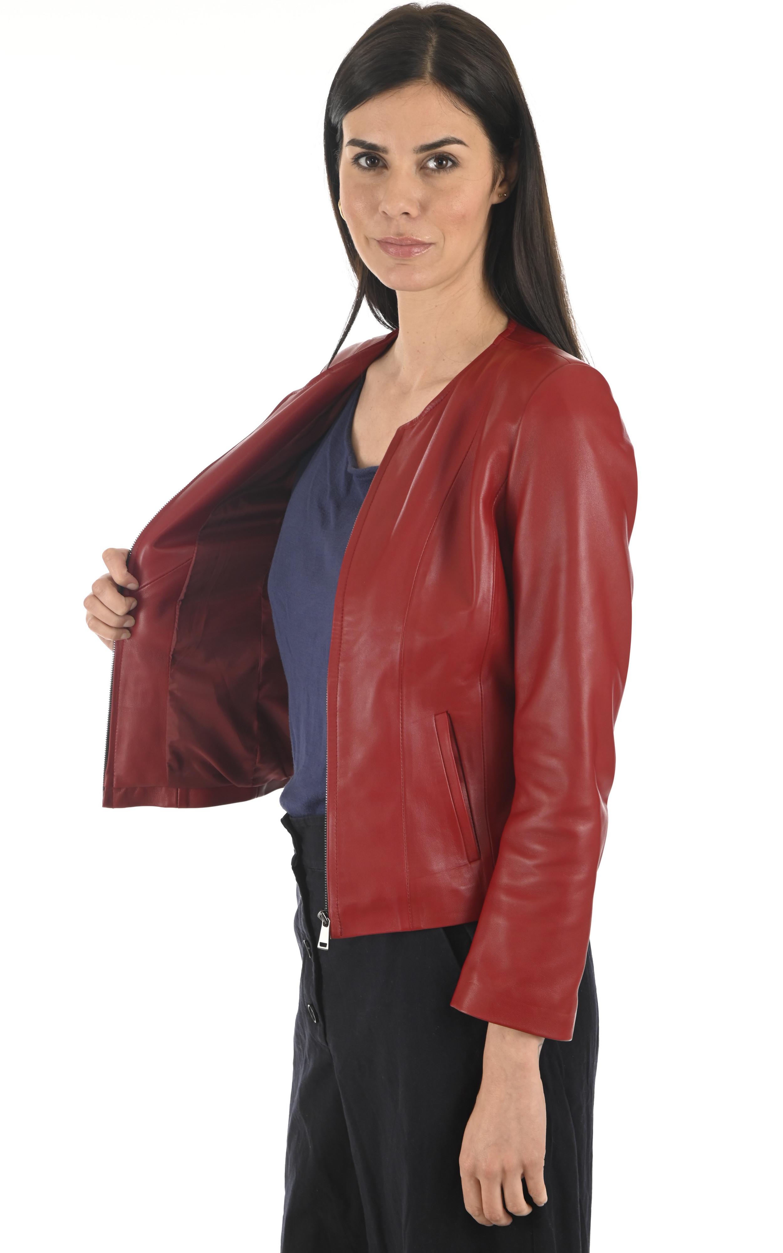 Spencer cuir rouge La Canadienne