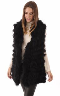 Veste en fourrure lapin femme