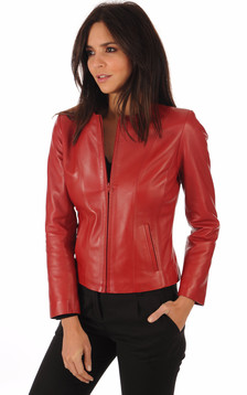 Spencer en Cuir Agneau Rouge1