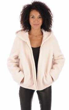 Veste en laine à capuche blanc cassé