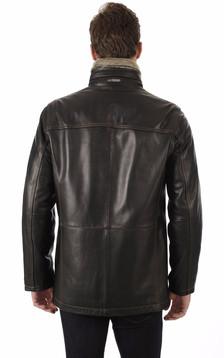 Sur-veste en Cuir Chaude Noir