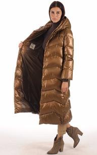 Maxi Doudoune Textile et Fourrure Bronze