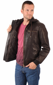 Blouson B-One Marron à Capuche