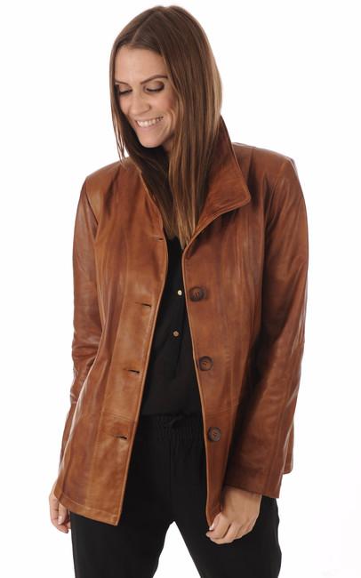 veste cuir cognac femme la canadienne la canadienne veste 3 4 cuir cognac. Black Bedroom Furniture Sets. Home Design Ideas