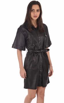 Robe saharienne cuir noir