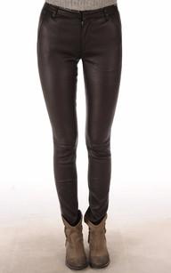 Pantalon Slim Cuir Agneau Marron1