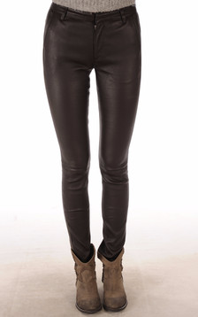 Pantalon Slim Cuir Agneau Stretch Marron1