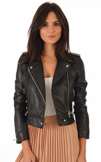 Blouson Yoko en cuir noir
