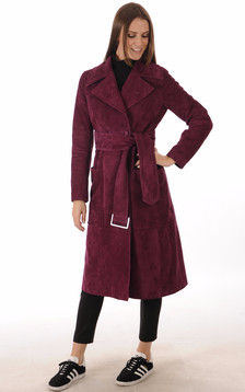 Manteau 7/8 Chèvre Velours Bordeaux1