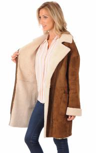 Veste Longue en Mouton Coupe Droite
