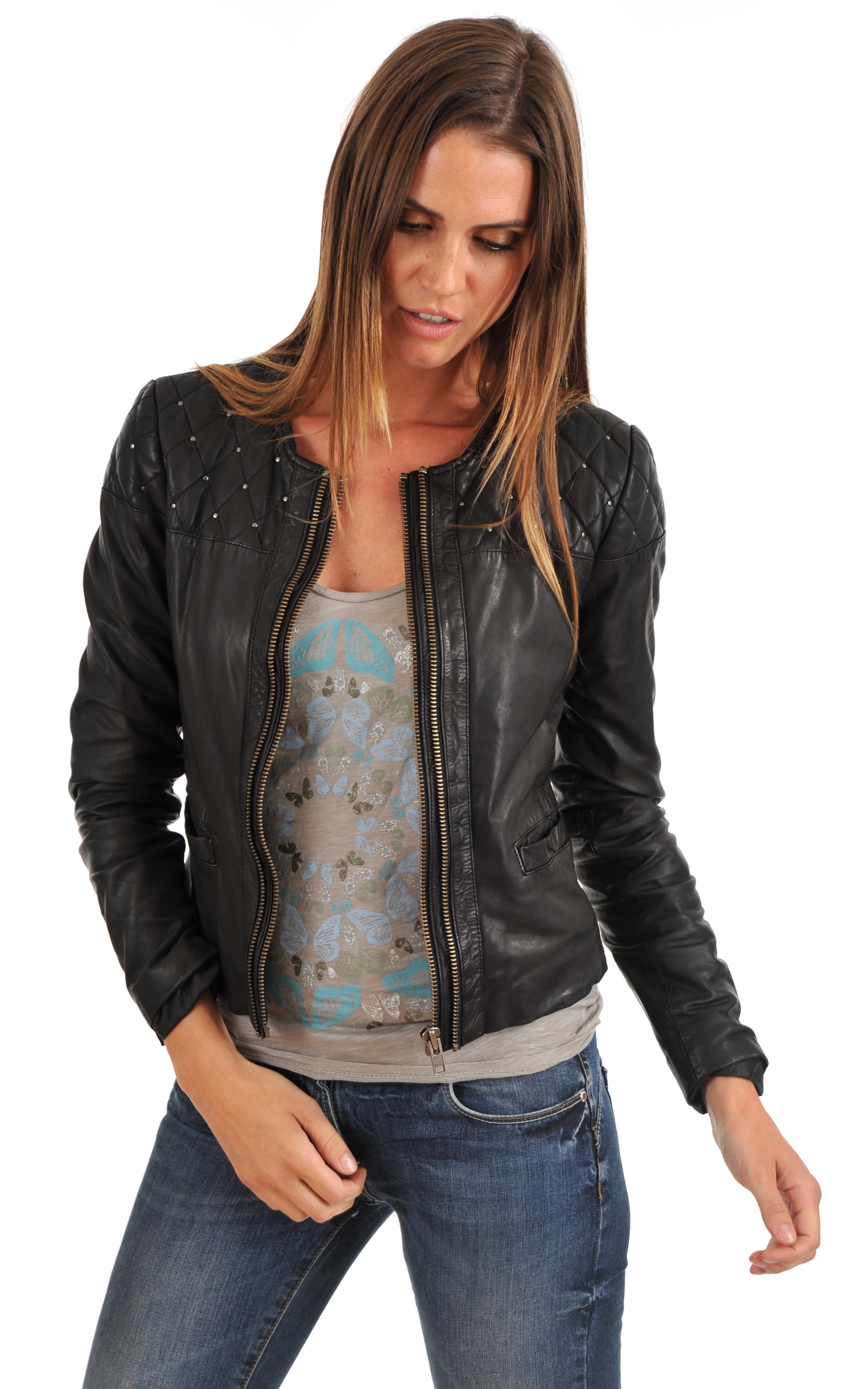 bas prix codes promo marque populaire blouson cuir femme ikks noir,blouson ikks femme