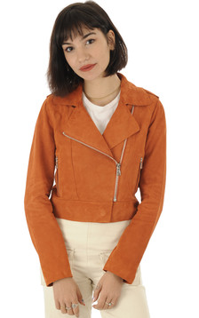 Blouson chèvre velours orange1