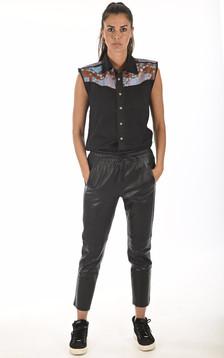 Pantalon jogpant cuir noir