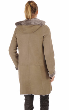 Manteau peau lainée taupe