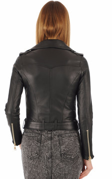 Blouson en cuir agneau noir