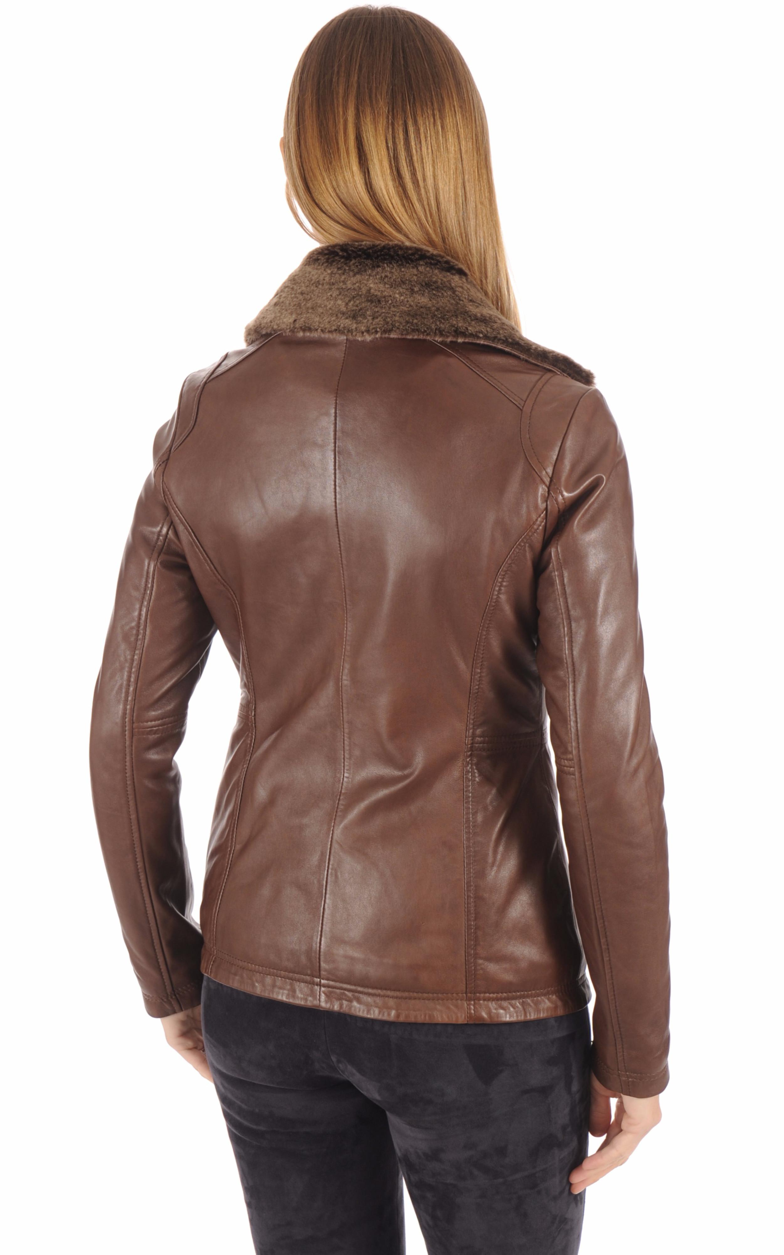 Veste cuir marron clair Rose Garden