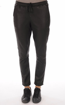 Pantalon en cuir stretch noir