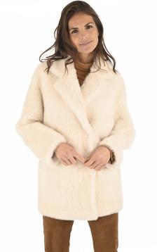 Veste réversible peau lainée crème