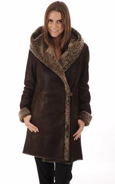 Manteau peau lainée marron1