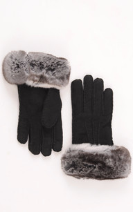 Gants Cuir Velours & Fourrure Chinchilla1