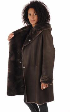 Manteau peau lainée marron foncé