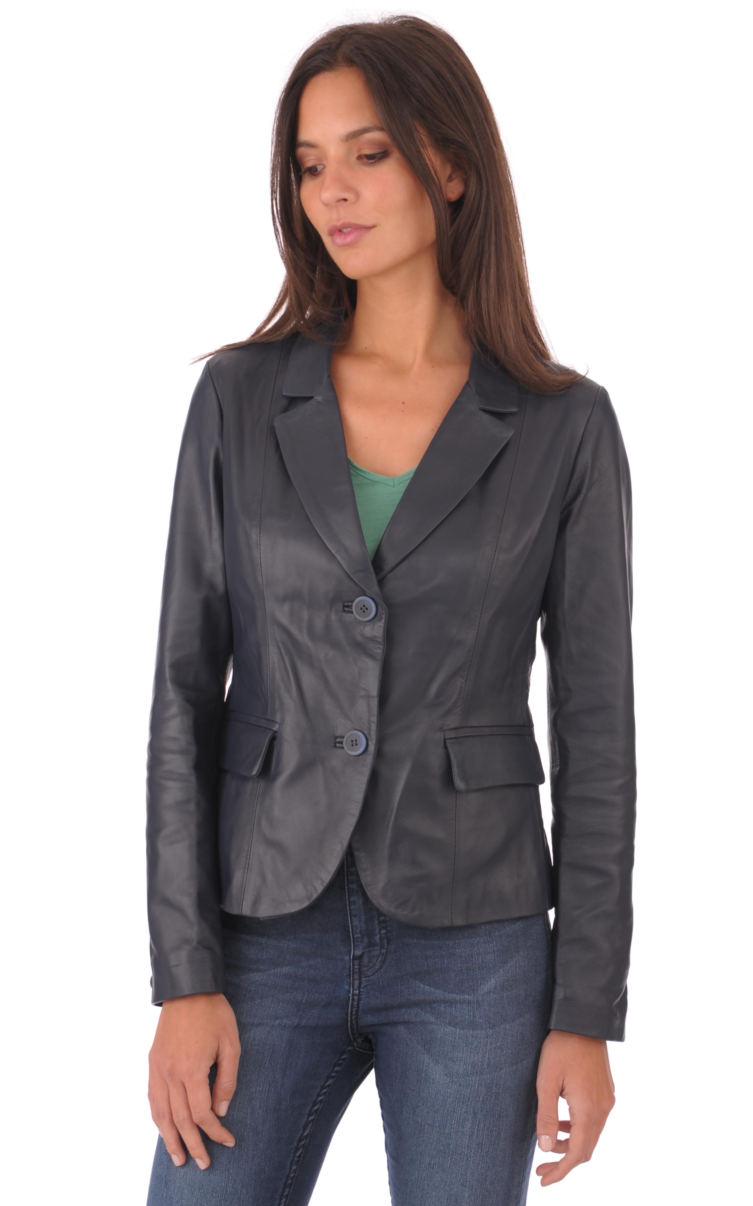 blazer cuir marine femme la canadienne la canadienne veste 3 4 cuir marine. Black Bedroom Furniture Sets. Home Design Ideas